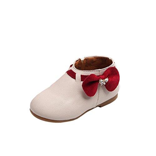 Babyschuhe,Sannysis Kleinkind Baby Mädchen Bowknot Sneaker Stiefel Reißverschluss Casual Schuhe (25, Beige)