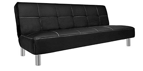 Divano letto in ecopelle 3 posti reclinabile nero design moderno casa ufficio