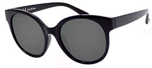 La Optica B.L.M. UV 400 CAT 3 Unisex Damen Frauen Sonnenbrille Rund Groß - Einzelpack Glänzend Schwarz (Gläser: Grau)_LO14 B-Grey