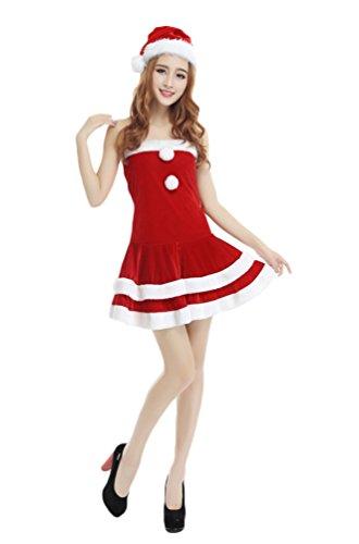 YOUJIA Damen Weihnachts Kostüm Weihnachtskleid Miss Santa Kleid für Weihnachtsfeier oder Party (Rot) (Santa Anzug Miss)