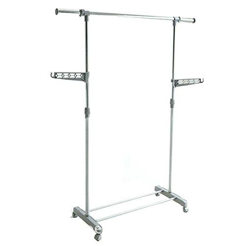 logei Perchero de ropa perchero enrollable extensibles estante perchero armario telescópica plegable ruedas soporte Secadora, gris