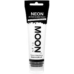 Moon Glow Grande Pintura Corporal y Facial 75ml UV Glow Blanca - Fluorescente incandescente con aplicador de esponja