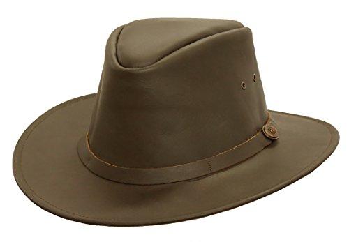 Klassischer Lederhut in Schwarz und Braun, Hutband in Lederfarbe von Kakadu Australia 2.Wahl