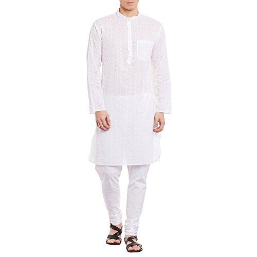 Herren bestickt Cutwork Kurta Maschine Baumwollstickerei, Brust 48 Zoll, XL, Off White (Male Falten-shorts Casual)