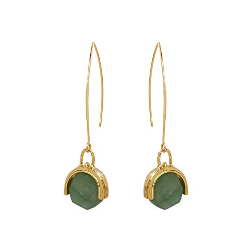 Orientalische Edelstein Damen Ohrringe, Einfach Gold Lange Piercing Ohrringe