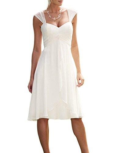 Izanoy Damen Chiffon Kurz Hochzeitskleid Herzförmi Brautjungfer Kleid Beige DE 38
