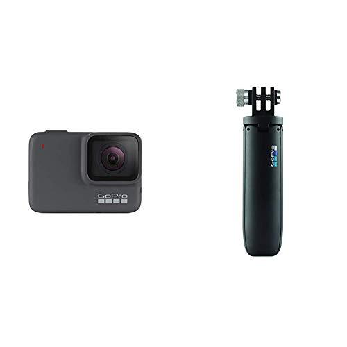 GoPro HERO7 Silver - Cámara de acción (sumergible hasta 10 m, pantalla táctil, vídeo 4K HD, fotos de 10 MP) color gris + Vara de extensión en miniatura y trípode, negro