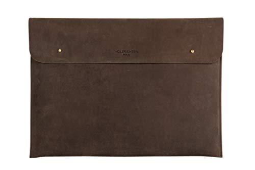 """HOLZRICHTER Berlin 15"""" Zoll Leder-Hülle – Premium Laptop Sleeve MacBook Tasche - dunkel-braun"""