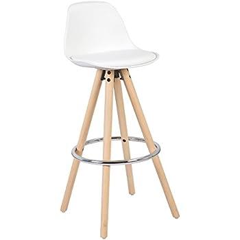 WOLTU® BH45ws-1, 1X Tabouret de bar en plastique siège + Repose-pieds design cuisine tabouret en bois pieds,Blanc
