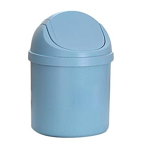 Leisial Mini Bureau Boîte de rangement des ordures Poubelle de Bureau Barils de stockage de Table(Bleu)