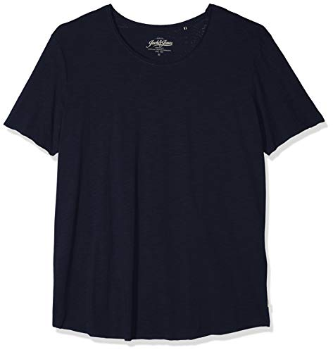 JACK & JONES Jjebas tee SS U-Neck PS, Camiseta para Hombre, Azul (Navy Blazer Detail:PS), 6XL