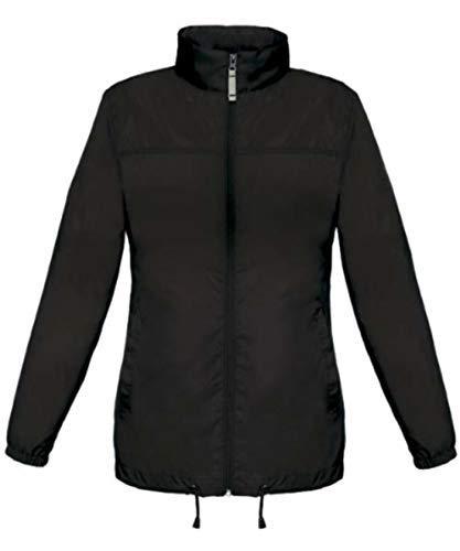 Lady Windjacke Regenjacke Jacke Waserabweisend mit Kapuze viele Farben Größe XS-XXL Black,M