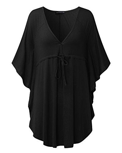 StyleDome Damen Tiefer V-Ausschnitt Batwing Ärmel Taille Casual Loose Tunic Tops T-Shirts Schwarz
