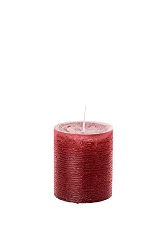 durchgefärbte Stumpenkerzen (H x Ø) 100 x 68 mm, Farbe Bordeaux, mit ASF-Folie zum Abbrandschutz, Wiedemann Marble Kerzen, Advent, Adventskranz, Weihnachten, Dekoration, Event