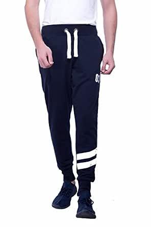 Alan Jones Clothing Men's Solid Fleece Track Pants (Navy Blue, Small)