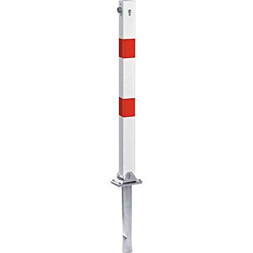 TMS PRO SHOP Klapp-Pfosten Vierkant zum Einbetonieren mit Zylinderschloss, rot/weiß aus Stahl Rot-stopper