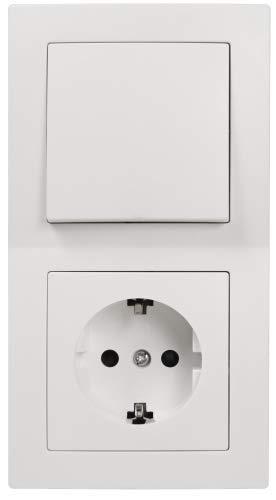 McPower Tür 2-fach Schalter- und Steckdosen-Set, 3-teilig, weiß -