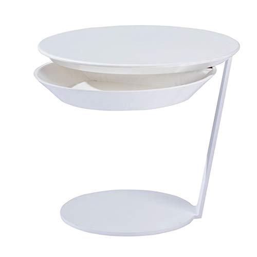 Tavolino da salotto multifunzionale a forma di c tavolino da notte della camera da letto del sofà con la scatola di immagazzinaggio facoltativo (colore : bianca)