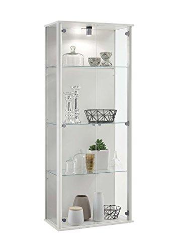 Avanti trendstore - cabinet - vetrina da muro, disponibile in vari colori, bianco opaco/quercia antica d'imitazione con illuminazione led, ca. 67,5x171x36 cm