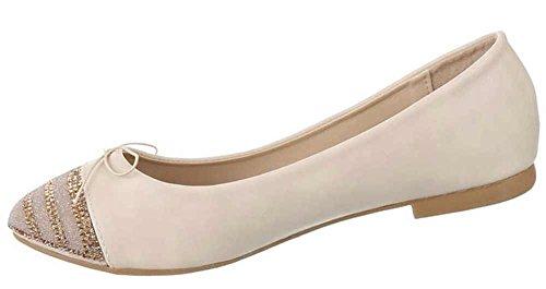Damen-Schuhe Ballerinas | elegante Slipper mit Blockabsatz und Schleife in verschiedenen Farben und Größen | Schuhcity24 | Strass Loafers in Lederoptik Beige