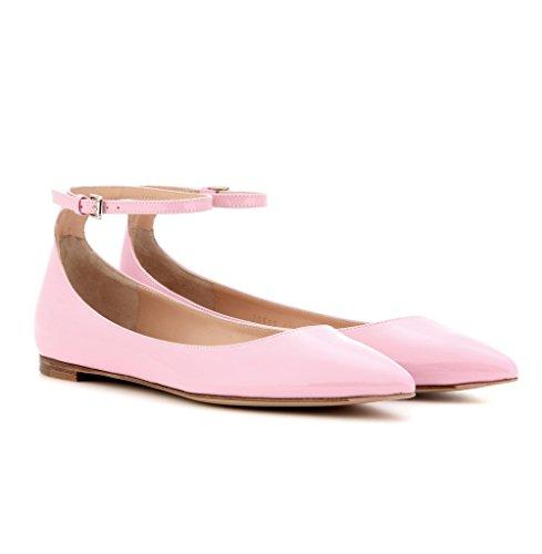 EDEFS - Ballerines Femme - Chaussures Plat - Classiques Pour Femmes - Bride Cheville pink