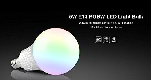 1x FUT013 5Watt E14 RGB+CCT kalt – warm weiß einstellbar FUNK WIFI faehig Futlight Mi-Light 2,4G fr alle 2,4 Mi Light Produkte original MILIGHT©