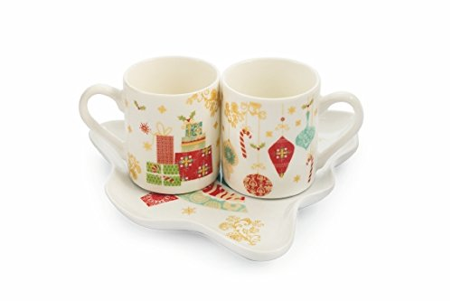 Villa d'Este Home Tivoli Sweet Xmas Set Tazzine Caffè, Bone China, Multicolore, 3 Unità