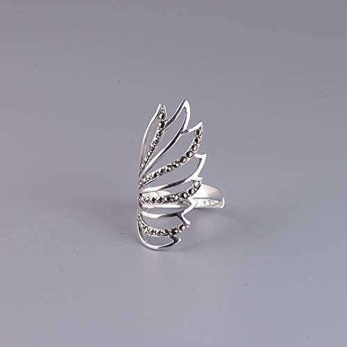 sober S925 Silber Retro Damenmode Temperament Peacock Feather-Tail Offener Ring -