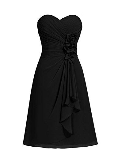 Dresstells, robe courte de demoiselle d'honneur mousseline Col en cœur Noir