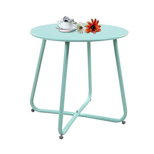 YNN Table Patio en Acier Table Basse Fin de Table De Plein air Table d'appoint Petites Tables Rondes 6 Couleurs 17,7 * 17,9 '' (Couleur : Blue~2)