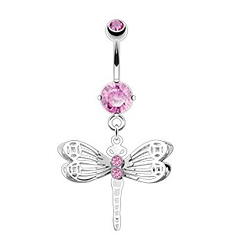Coolbodyart Unisexe Piercing nombril Libéllule avec encadrées Pierres en acier chirurgique rose