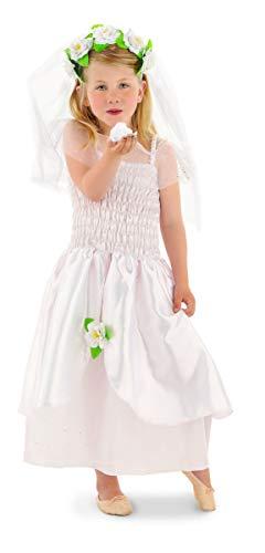 Folat 21859 Braut-Kostüm für Mädchen 2-teilig, Größe 98-116, weiß