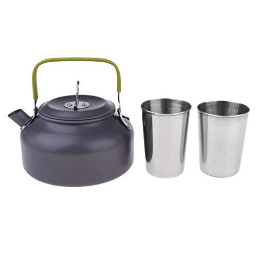 perfk 1 Satz Leicht Wasserkocher faltbar Griff Teekanne Kaffeekanne mit Zwei Becher