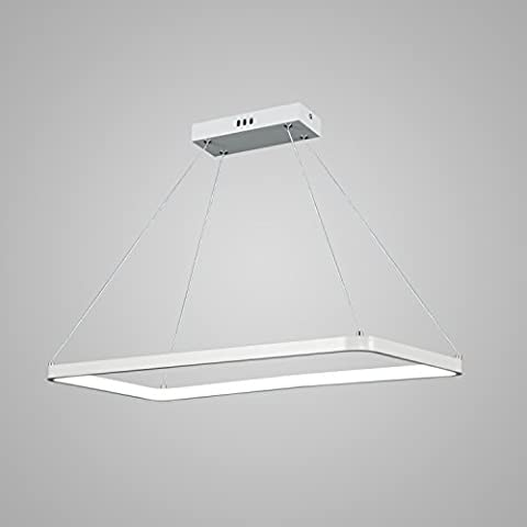 Unitary Brand Modern White Acrylic Rectangle Warm White LED Pendant Light with Max 15W Painted