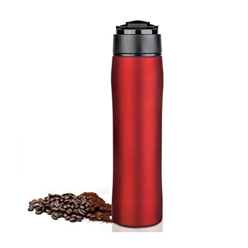 ZYZYZ Tragbare Französisch Press Kaffeemaschine Insulated-Reise-Becher Premium-Edelstahl Groß für Pendler, Camping, Outdoor und Büro,Brightred -