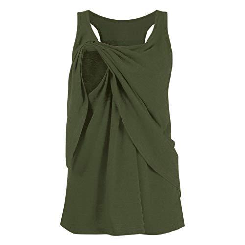 Stillbluse Damen Mama Still Umstands-Top Lagendesign Design Ärmellos Tanktops, Sexy Sommeroberteile, Mutterschaft Doppelschicht T-Shirt