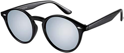 La Optica UV 400 Damen Herren Retro Runde Sonnenbrille Round - Einzelpack Glänzend Schwarz (Gläser: Silber verspiegelt)