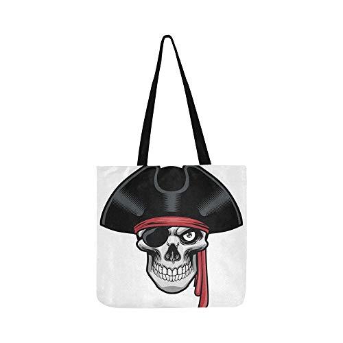 Piraten Kostüm Toter - Heftige Pirat Und Hut Leinwand Tote Handtasche Umhängetasche Crossbody Taschen Geldbörsen Für Männer Und Frauen Einkaufstasche