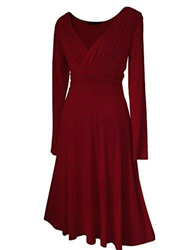 Robe Femme Sexy STYLE VINTAGE ,élégante/Robe de cocktail ,robe à manches longues, Disponible en différents coloris,Taille 36 - 52 Bordeaux
