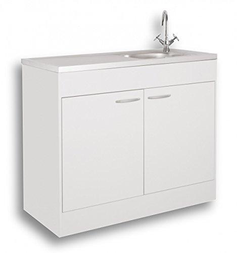 Komplettspüle Spülenschrank Spülschrank Auflagespüle Schiebetür Drehtür 100x50cm 100x60cm weiß (100x60cm mit Drehtüren)