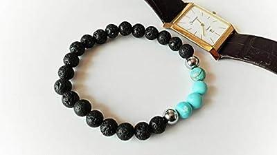 bracelet pierre de lave, bracelet turquoise, bracelet mala, bracelet ancrage, bracelet tibetain, bracelet homme, cadeau noel pour lui