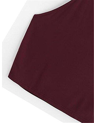 Gogofuture Donna Halter Top Senza Maniche Maglietta Fionda Blusa Sexy Elegante Camicetta Bluse Puro Colore Bretelle Top Comoda Red