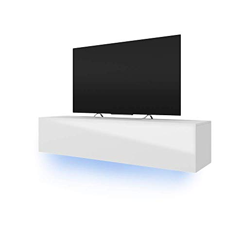 TV-Schrank Lowboard Hängeboard SIMPLE mit LED Blau