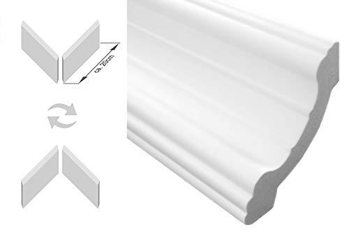 DECOSA Zierprofil A40 SIMONE Edle Stuckleiste in Wei/ß F/ür Decke oder Wand Zierleiste aus Styropor 30 x 30 mm 1 Leiste /à 2 m L/änge = 2 m