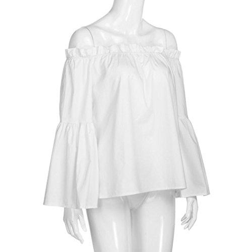 Vovotrade® Femmes Débardeur Blouse en Coton à Manches Longues épaule Denudé Blanc