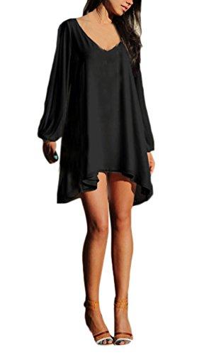 Frauen Casual Chiffonkleid Minikleid Shirtkleider A-Linie Kleid Langarm Cut Out V-Ausschnitt Drapiert Baggy Langshirt Normallacks S-2Xl -
