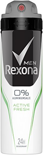 Domestos Rexona Men Desodorante Spray Active Fresh sin aluminio, 150 ml, 6 unidades (6 x 150 ml)