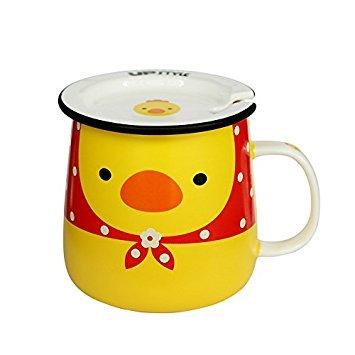 affeebecher aus Keramik mit Tiermotiv, Reisebecher mit Deckel und Griff für Wasser, Tee und Kaffee, 320 ml Huhn ()
