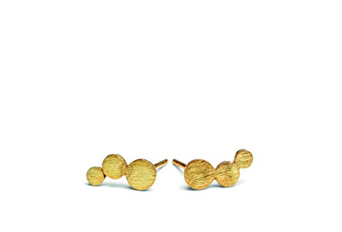 Pernille Corydon Damen Ohrringe Multi Coin - Ohrstecker mit drei runden Plättchen runde Kreis Echtschmuck 925er Silber vergoldet E221g
