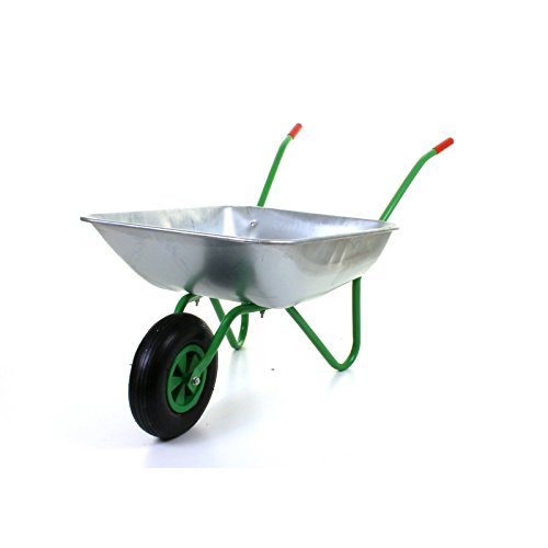 "Marko Tools Green 65L Metal Heavy Duty Galvanised Wheelbarrow 12"" Pneumatic Inflatable Tyre Garden"